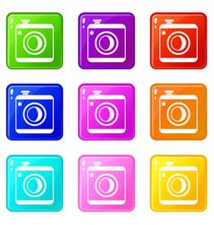 Vintage photo camera set 9 vector