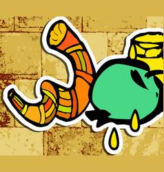 Western wall jerusalem shofar honey sticker vector