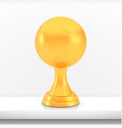 winner volleyball cup award golden trophy logo vector image