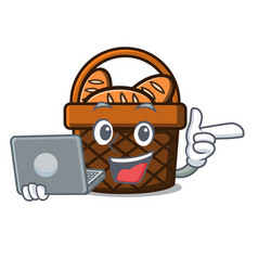 With laptop bread basket character cartoon vector