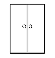 Wooden wardrobe icon outline vector