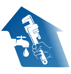 wrench in hand plumber repair and service vector image