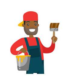 young african-american painter with a paint brush vector image