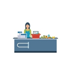 Young cashier woman standing in supermarket vector