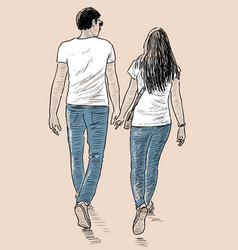 Young couple on a stroll vector