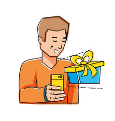 young man using smartphone with gift vector image