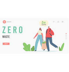 zero waste landing page template characters carry vector image