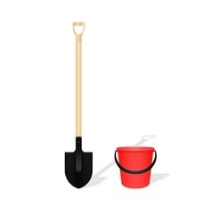 Bayonet shovel and red bucket vector image