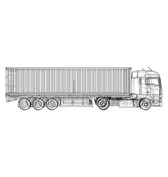 car delivery semi truck trailer wire-frame eps10 vector image