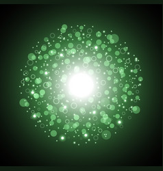 light circle with dots and sparks green color vector image vector image