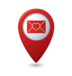 Mail icon with heart on the red map pointer vector image vector image
