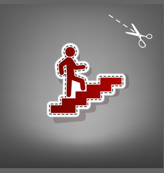 man on stairs going up red icon with for vector image