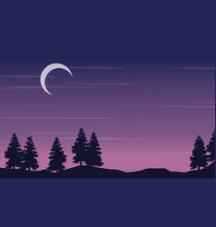 silhouette landscape tree with moon at night vector image