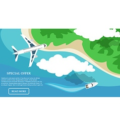 Travel in a flat style Banner Water tourism Summer vector image vector image