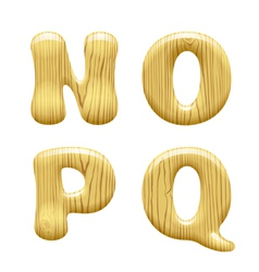 Wood alphabet letters vector image vector image