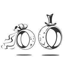 bridegroom and bride wedding rings vector image