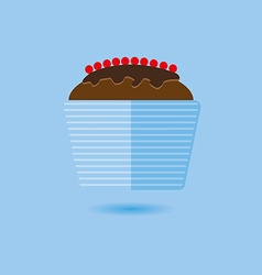 Candy card with a big chocolate cream cake vector image