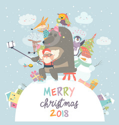 cute animals with santa claus take a selfie vector image vector image