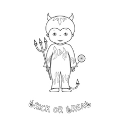 Halloween coloring page with cute devil vector