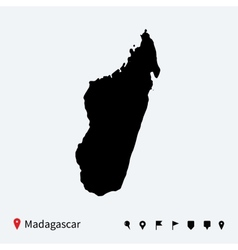 High detailed map of Madagascar with navigation vector image vector image