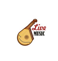 Guitar bandura stringed folk music icon vector