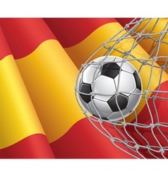 Soccer goal and Spain flag vector image vector image