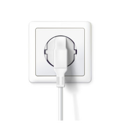 the plug is plugged into the power lines white vector image vector image