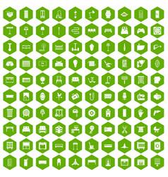 100 furnishing icons hexagon green vector