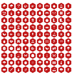 100 gardening icons hexagon red vector