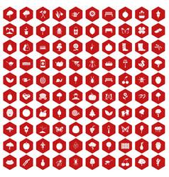 100 gardening icons hexagon red vector