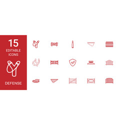 15 defense icons vector image