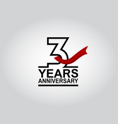 3 years anniversary logotype with black outline vector
