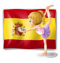 A gymnast in front of the Spanish flag vector image