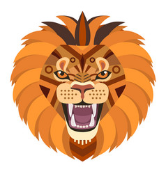 Angry lion head logo decorative emblem vector