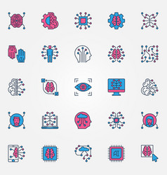 artificial intelligence colored icons set - ai vector image