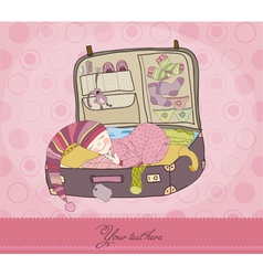 Baby girl arrival card with suitcase vector