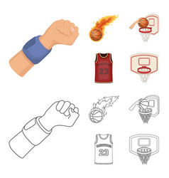 basketball and attributes cartoonoutline icons in vector image