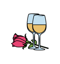 beautiful rose flower with champagne cups vector image