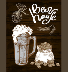 Beer hops mug sack vector