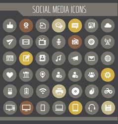 big social media icon set trendy line icons vector image