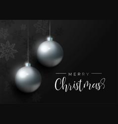 black christmas luxury bauble ornament card vector image