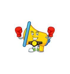Boxing yellow loudspeaker cartoon character for vector