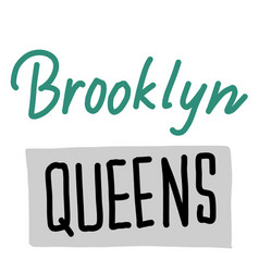 Brooklyn queens simple on white vector