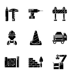 building site icons set simple style vector image