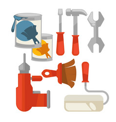 building tools colorful set isolated vector image
