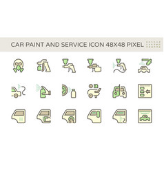 car paint and repair service icon set design vector image