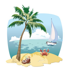 cartoon island in the sea with a yacht vector image