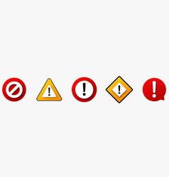 caution alarm sign set vector image