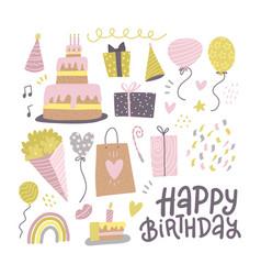 celebration happy birthday party symbols vector image
