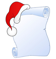 Christmas scroll with hat 1 vector